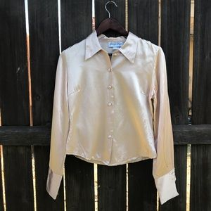 Vintage 90s cream pink silky looking top